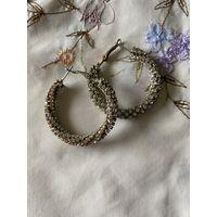 Винтажные массивные серьги-кольца со стразами