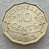 Сейшельские острова. 10 центов 1953 год  КМ#10    Тираж: 130.000