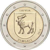 2 евро Латвия 2018 Историческая область Земгале . Из ролла