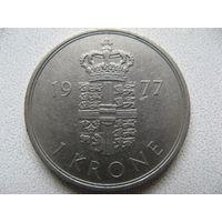 Дания 1 крона 1977 г.