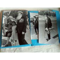 3 колоритных фото ветеранов ВОВ одним лотом Большой формат 1986 г съёмки