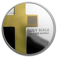 """Острова Кука 5 долларов 2016г. """"NANO: Библия - четыре Евангелия"""". Монета в капсуле; подарочном футляре; номерной сертификат; коробка. СЕРЕБРО 31,135гр.(1 oz)."""