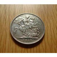 Великобритания 1887. 1 крона. Юбилейная. Редкая.