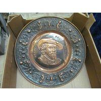 Старая медная голландская настенная тарелка Petrus Pauls Rubens, 33 см.