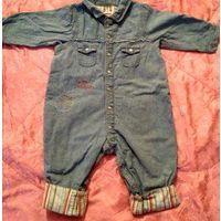 Стильный фирменный комбинезон джинсовый 18м