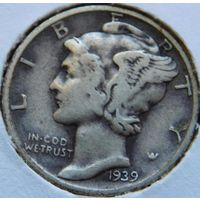 5. США 1 дайм 1939 год, серебро
