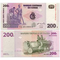Конго. 200 франков (образца 2007 года, P99, UNC)