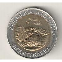 Аргентина 1 песо 2010 200 лет Аргентине развалины крепости Пукара