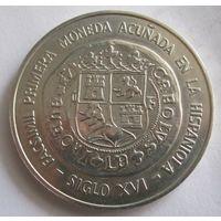 Доминикана, 10 песо, 1975, первая испанская монета, серебро