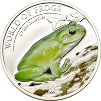 """Палау 2 доллара 2013г. """"Мир лягушек. Австралийская зеленая лягушка"""". Монета в капсуле; подарочном футляре; номерной сертификат; коробка. СЕРЕБРО 15,5гр."""