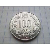 Уругвай 100 новых песо 1989