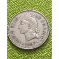 Доминиканская республика - 1/2 песо 1967 - Принцесса - символ Свободы - РЕДКАЯ !! СОСТОЯНИЕ
