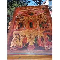 Большая Старообрядная Ветковская Старинная икона 19 век Покров Пресвятой Богородицы 52х71