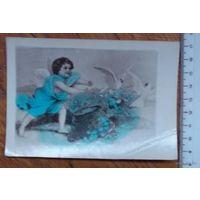 Фото-открытка Поздравление с днем ангела. Примерно 60-е годы