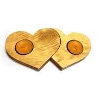 Подсвечник из дерева Сердца (сосна, покрытая лаком)