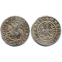 Полугрош 1522, Жигимонт Старый, Вильно. Окончания легенд: Ав - ':15ZZ:', Рв - 'LITVANIE:'. Более редкий год