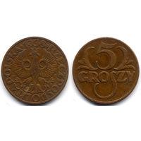 5 грошей 1938, Польша. Коллекционное состояние