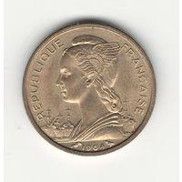 Реюньон 10 франков 1964 года. Редкая! Состояние UNC!