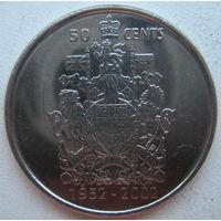 Канада 50 центов 2002 г. 50 лет правлению Королевы Елизаветы II 1952-2002
