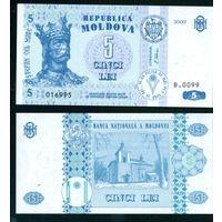 Молдова 5 лей 2009 UNC