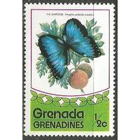 Гренада Гренадины. Бабочка голубянка. 1975г. Mi#79.