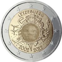 2 евро 2012 г. Люксембург 10 лет наличному евро . UNC из ролла