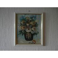 Картина Цветы масло картон Германия 80-е годы, размер 27 х 23 см.