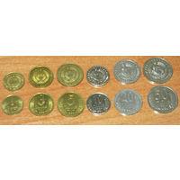 Узбекистан 1994 компл 6 монет UNC 1,3,5,10,20,50 тийин