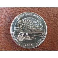 1/4 доллара 2014 США ( Национальный парк Грейт-Санд-Дьюнс ) D