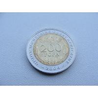 """Западно Африканские штаты.  200 франков 2004 год KM#14 """"Пилорылый скат-символ Центрального банка государств Западной Африки-FAO"""