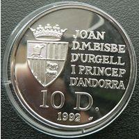 Андорра. 10 динаров,1992,Серебро. Пруф. 178