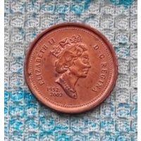 """Канада 1 цент 2002 года. """"50 лет правлению Королевы Виликобритании Елизаветы II"""". Кленовый лист. Инвестируй в историю!"""
