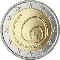 2 евро 2013 Словения 800-летие открытия пещеры Постойнска-Яма UNC из ролла