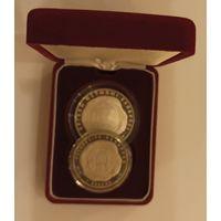 Футляр для 2 монет с капсулами 45.00 mm и 38.00 mm бархатный красный