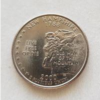 25 центов США 2000 г. штат Нью Гэмпшир P