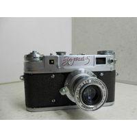 Фотоаппарат Зоркий-5 1958 г. с красной надписью и объективом Индустар-50 выдвижным, обслужен