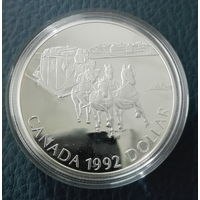 Канада. 1 доллар 1992 PROOF. Серебро 925. Футляр, сертификат, идеальное состояние. Возможен обмен