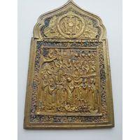 Икона меднолитая Покров Пресвятой Богородицы 19 век