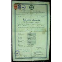 """Свидетельство об окончании """"Nizsza Szkola Hotelarska"""" 1938г. Польша. Размер 23-36см"""