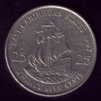 25 центов 1997 год Восточные Карибы