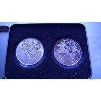 """2 Монеты - медали в футляре """"Илия на колеснице и Давид разрывает пасть льва"""" 38 мм. распродажа"""