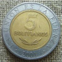 5 боливиано 2001 Боливия
