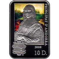 Андорра 10 динаров 2008 Художники мира Леонардо да Винчи Серебро Proof