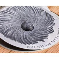 "RARE Чад 5000 франков 2016г. ""Метеорит Бренхам."" Монета в деревянном подарочном футляре; сертификат; коробка. СЕРЕБРО 155,50гр.(5 oz)."