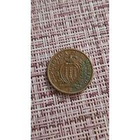 Сан марино  5 чентезимо 1936 г ( тираж 400 тысяч )