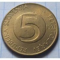 Словения 5 толаров, 1992          ( 5-5-2 )