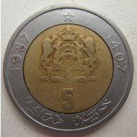 Марокко 5 дирхамов 1987 г.