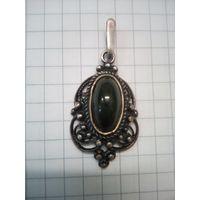 Кулон, подвеска, медальон AG925 звезда 1990г нефрит