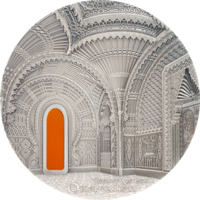"RARE Палау 10 долларов 2018г. Тиффани ""Tiffany Art: Ориентализм"". Монета в капсуле; подарочном футляре; сертификат; коробка. СЕРЕБРО 62,20гр.(2 oz)."
