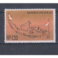 [1609] Индонезия 1963. Флаг,карта. MNH